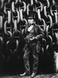 Isambard Kingdon Brunel stands before the launching chains of the SS Great Eastern at the time, was the largest vessel afloat that could travel the globe without refuelling.  This ships was launched the same month that the Royal Albert Bridge was opened.